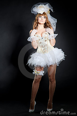 Costume of sexy wedding doll image stock photography for Sexy wedding dress costume