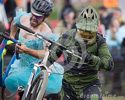 Costumed Bicycle Racer - Halo Editorial Stock Image