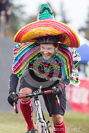 Costumed Bicycle Racer - Mexican Editorial Stock Photo