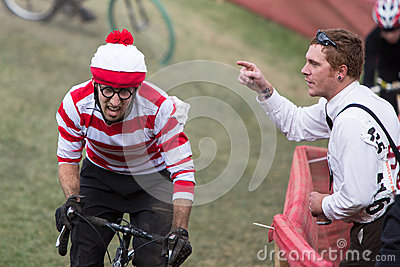 Costumed Bicycle Racer - Where s Waldo? Editorial Stock Image