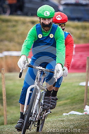 Costumed Bicycle Racers - Mario and Luigi Editorial Image
