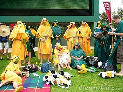 Costumed Cricket Crowd Editorial Photography