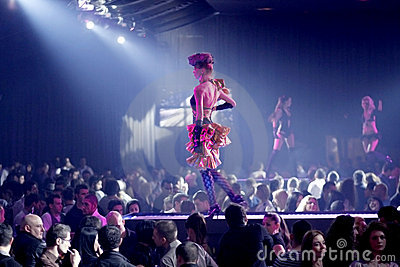 Costumed dancers in a nightclub Editorial Stock Photo