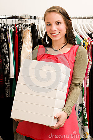 Costumer in clothing shop