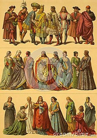 Costumes d Italien de XVème siècle Image éditorial