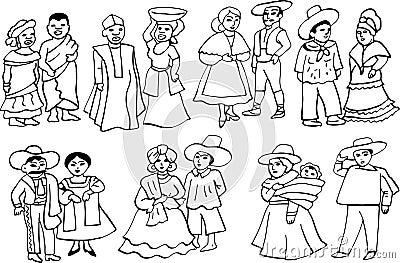 Costumes nationaux africains et latino-américains