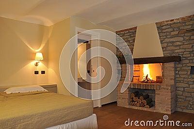 Cosy fire in bedroom