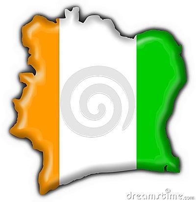 Cote d ivoire button flag map shape