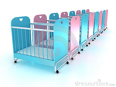 Cots on wheels with a mattress. 3D