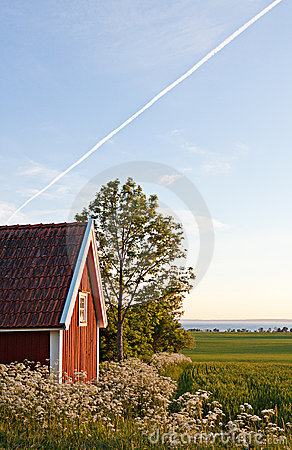 Free Cottage And Field. Stock Photo - 20634320