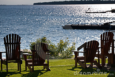 Cottage chairs facing the lake