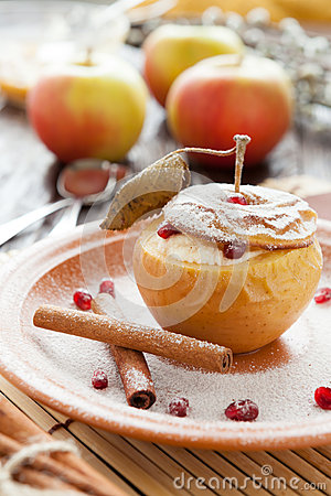 Free Cottage Cheese Baked In Apple With Cinnamon Stock Images - 30277764
