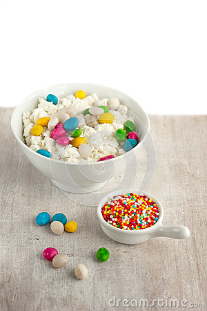 Cottage cheese and candy