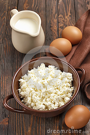 Cottage cheese, milk and eggs