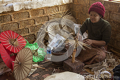 Cottage Industry Myanmar Burma Editorial Stock Image