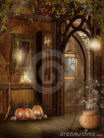 Free Cottage Interior With Halloween Decorations Stock Images - 16290504