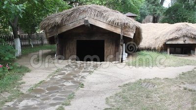 Cottage peasant buried in the ground stock footage video 55672532 - Romanian peasant houses ...