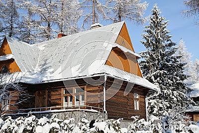 Cottage in snowy winter season
