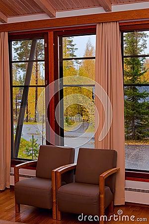 Cottage window autumn view