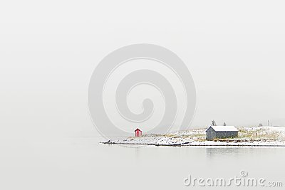 Cottage on winter coast