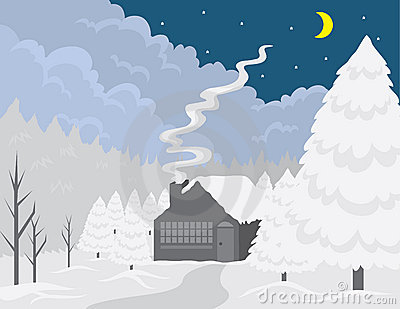 Cottage Winter Scene