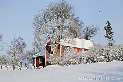 Cottages in snowy winter season