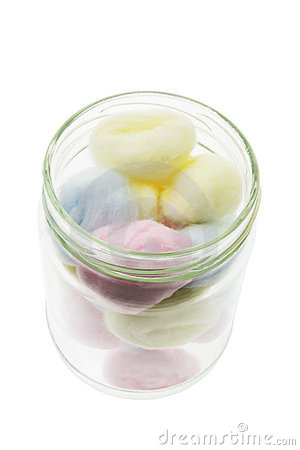 Cotton Balls in Glass Jar