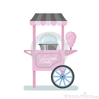 Free Cotton Candy Machine Flat Illustration Royalty Free Stock Image - 99146246