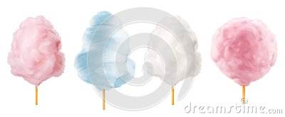 Cotton candy. Sugar clouds 3d vector icon set Vector Illustration