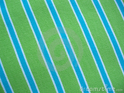 Cotton fabric with blue green and white stripes