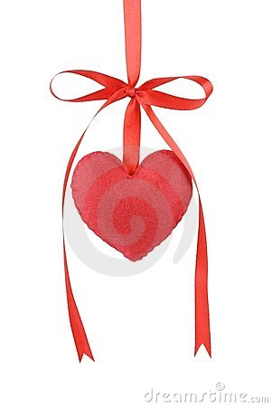 Cotton fabric heart with red satin ribbon