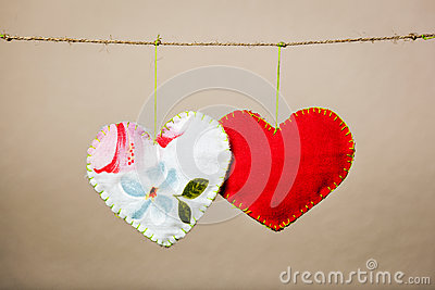 Cotton fabric hearts