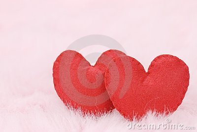 Cotton fabric hearts on feather