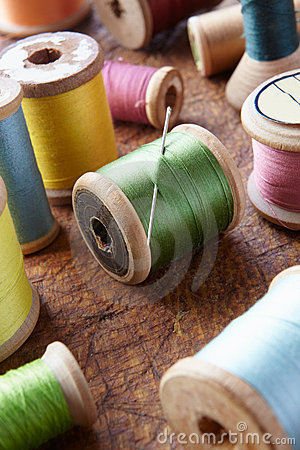 Cotton reels on table top