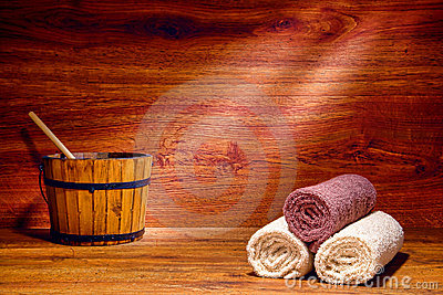 Cotton Towels in a Traditional Wood Sauna in a Spa