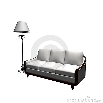 Free Couch  And Standard Lamp Royalty Free Stock Images - 9737159