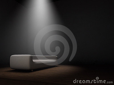 Couch in dark room