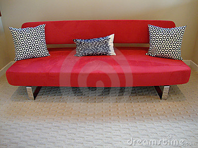 Modern Red Couch and Pillows
