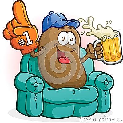 Couch Potato Sports Fan Cartoon Character