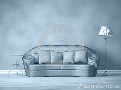 Couch with table and standard lamp