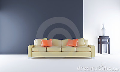Couch to face a blank black wall