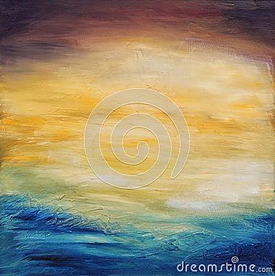 coucher du soleil abstrait de l 39 eau peinture l 39 huile sur la toile images stock image 28599104. Black Bedroom Furniture Sets. Home Design Ideas