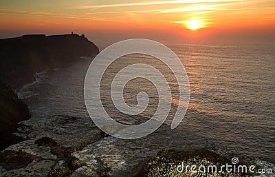 Coucher du soleil aux falaises de Moher