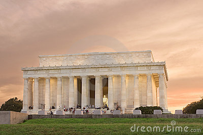 Coucher Du Soleil Commémoratif Washington De C.C Lincoln Photographie stock - Image: 10383172