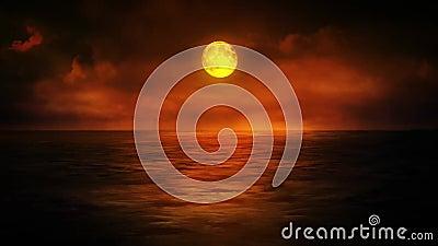 Coucher du soleil cramoisi au-dessus de la mer clips vidéos