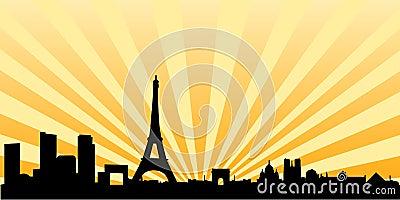 Coucher du soleil d horizon de silhouette de Paris