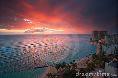 Coucher du soleil de ressource de Waikiki