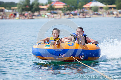 Couiple on water attractions during summer