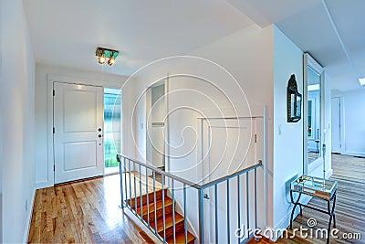 Couloir d 39 entr e avec l 39 escalier dans la maison vide photo for Escalier dans le vide
