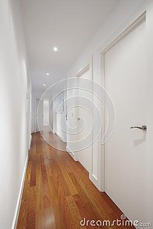 couloir de chambre avec les murs et le parquet blancs photo stock image 46230642. Black Bedroom Furniture Sets. Home Design Ideas